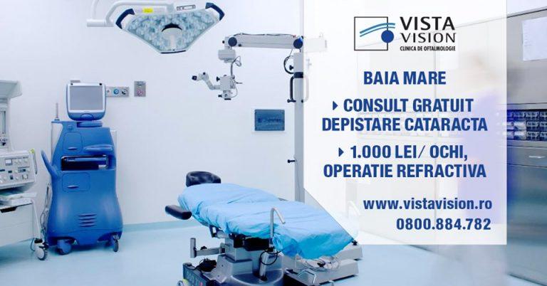 Consult gratuit depistare cataractă și 1.000 lei/ochi, operație refractivă